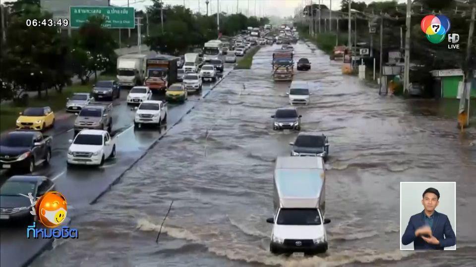 ฝนตกหนัก น้ำเอ่อท่วมถนนมิตรภาพ-โคราช แม่ค้าบ่นขายของไม่ได้