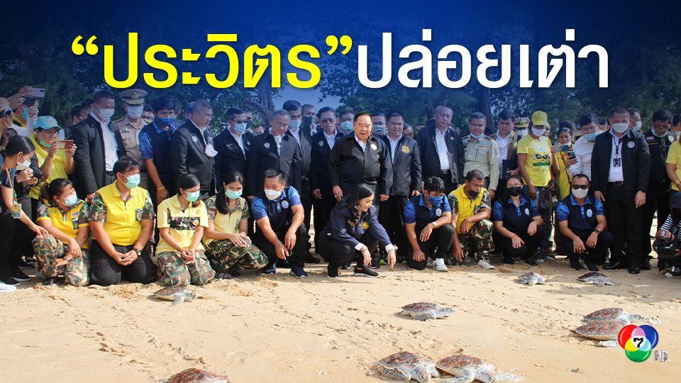"""""""พล.อ.ประวิตร"""" ลงภูเก็ตเก็บขยะชายหาด ปล่อยเต่าทะเลคืนสู่ธรรมชาติ หวังช่วยอนุรักษ์สิ่งแวดล้อมให้อยู่กับเราตลอดไป"""