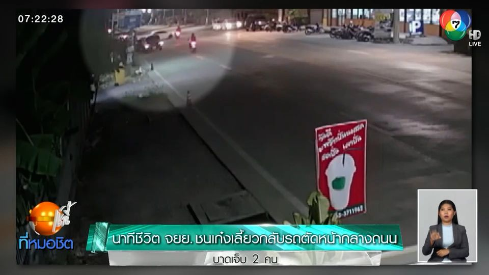 นาทีชีวิต จยย.ชนเก๋งเลี้ยวกลับรถตัดหน้ากลางถนน บาดเจ็บ 2 คน