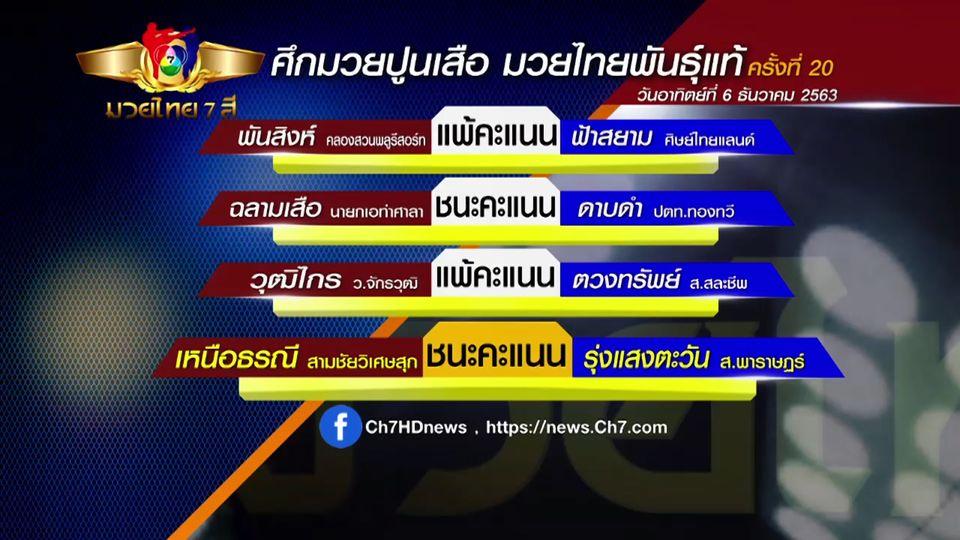 มวยเด็ด วิกหมอชิต : ผลมวยไทย 7 สี 6 ธ.ค.63 พันสิงห์ คลองสวนพลูรีสอร์ท vs ฟ้าสยาม ศิษย์ไทยแลนด์