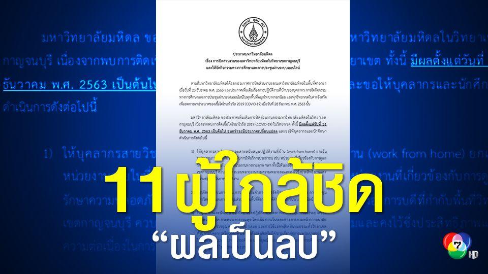 11 ผู้ใกล้ชิด นักศึกษา ม.มหิดล ผลเป็นลบ