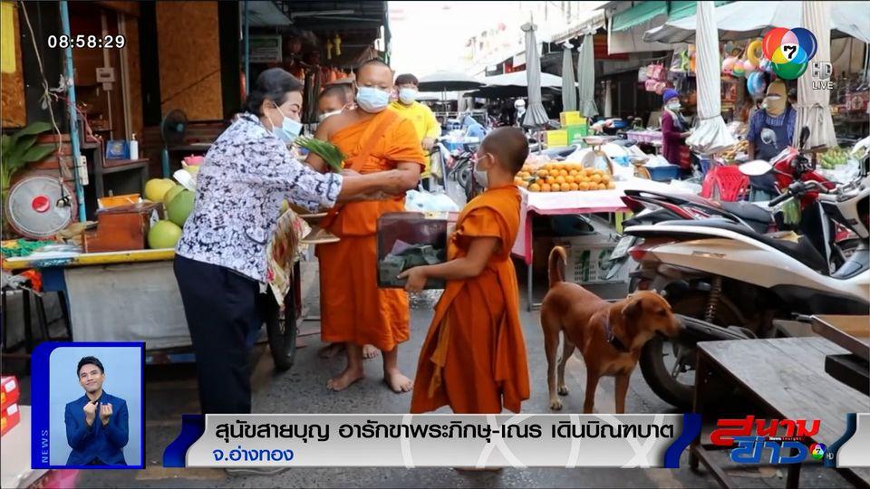 ภาพเป็นข่าว : สุนัขสายบุญ อารักขาพระ-เณร เดินบิณฑบาต จ.อ่างทอง