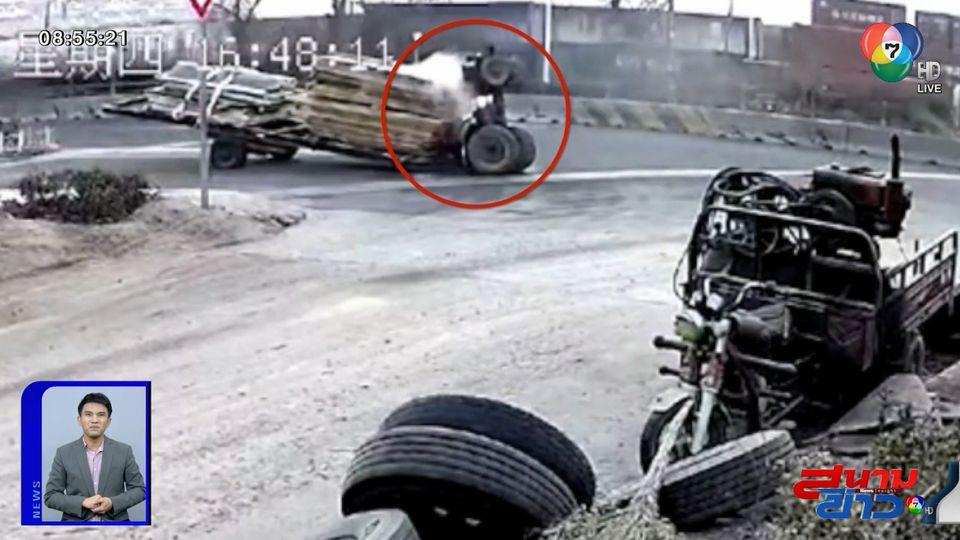 ภาพเป็นข่าว : วินาทียางล้อรถแทรกเตอร์ระเบิด หงายท้องชี้ฟ้า