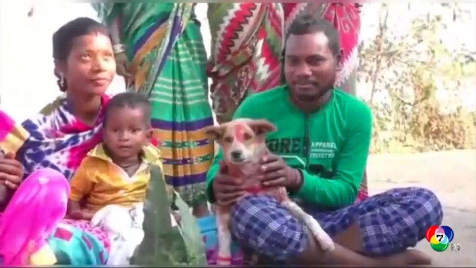 ครอบครัวชาวอินเดียจัดงานแต่งงานให้เด็กชายกับสุนัข เพื่อปัดเป่าสิ่งชั่วร้าย