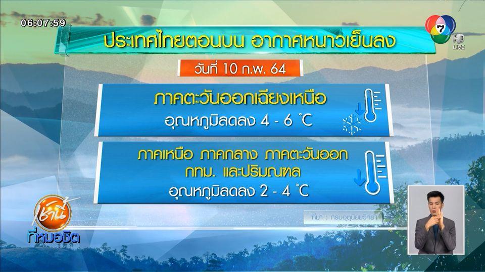 อุตุฯ คาดวันนี้ ทั่วไทย ยกเว้นภาคใต้ อุณหภูมิลด อากาศหนาวเย็นลง