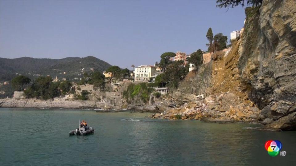 สุสานบริเวณหน้าผาพังถล่ม ทำโลงศพจำนวนมากไหลลงทะเลในอิตาลี