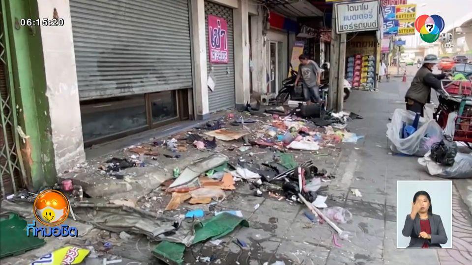 ระทึก หญิงหลับในขับรถพุ่งชนรถเข็นขายผัดไทย-หอยทอด พังยับเยิน