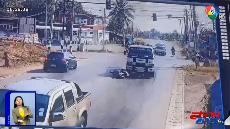 ภาพเป็นข่าว : นาทีชีวิต รถ จยย.เร่งเครื่องแซง เบียดชนกับรถบรรทุก จ.เพชรบูรณ์
