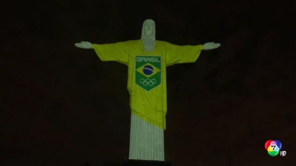 บราซิลเปิดไฟรูปปั้นพระเยซูนับถอยหลัง 100 วัน ก่อนแข่งโอลิมปิก เกมส์