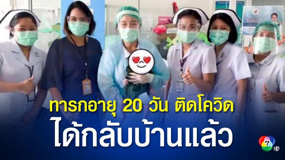 ชาวเน็ตแห่ยินดี ทารกน้อยอายุ 20 วัน รักษาโควิดหาย แพทย์อนุญาตให้กลับบ้านได้
