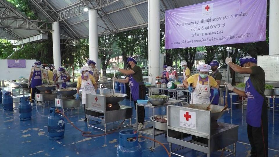 หน่วยงานต่าง ๆ ร่วมประกอบอาหารมอบแก่ประชาชน และบุคลากรทางการแพทย์ที่ได้รับผลกระทบจากการแพร่ระบาดของโรคโควิด-19