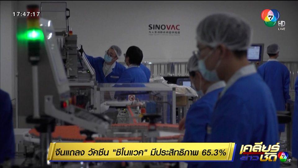 จีนแถลง วัคซีนซิโนแวค มีประสิทธิภาพ 65.3%