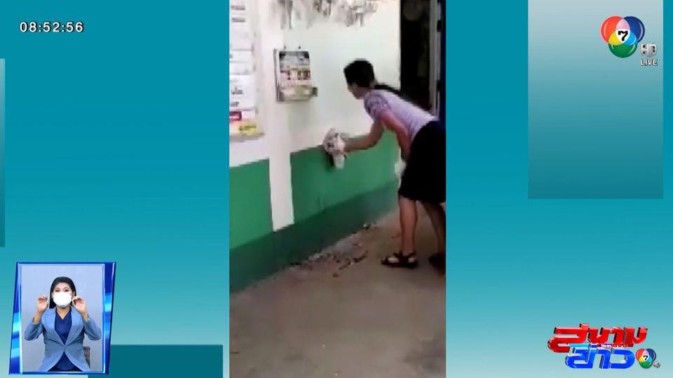 ภาพเป็นข่าว : ครูสาวใจกล้า จับตุ๊กแกเพื่อนักเรียน
