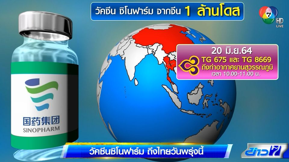 วัคซีนซิโนฟาร์ม ถึงไทยวันพรุ่งนี้