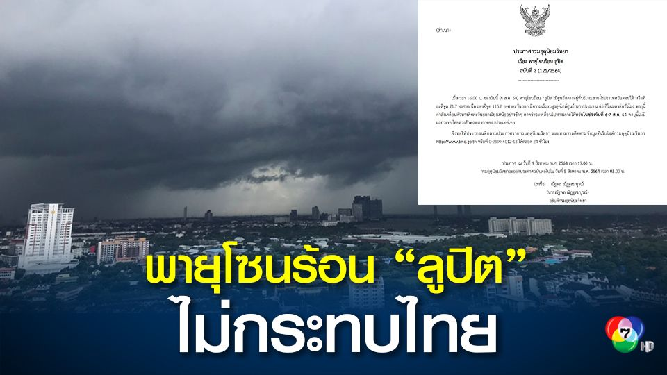 """กรมอุตุนิยมวิทยา เผย พายุโซนร้อน """"ลูปิต""""  ไม่กระทบไทย"""