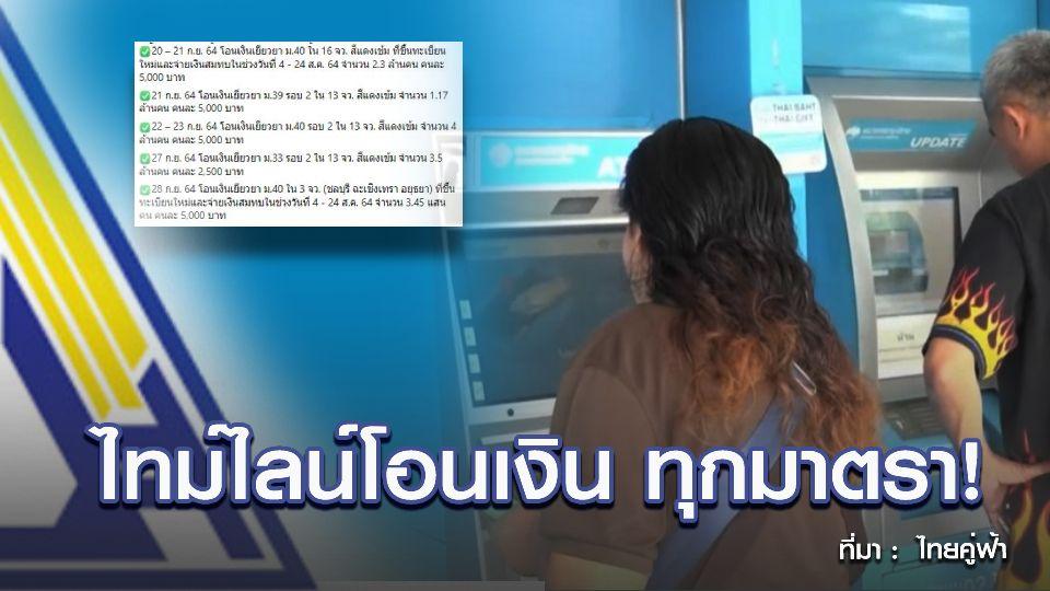 เปิดไทม์ไลน์โอนเงินเยียวยา ม.33, 39, 40 ครบทุกกลุ่ม ภายในเดือน ก.ย. 64