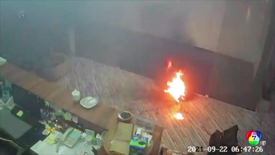 กล่องใส่แบตเตอรี่ระเบิด ในอาคารสำนักงานที่จีน