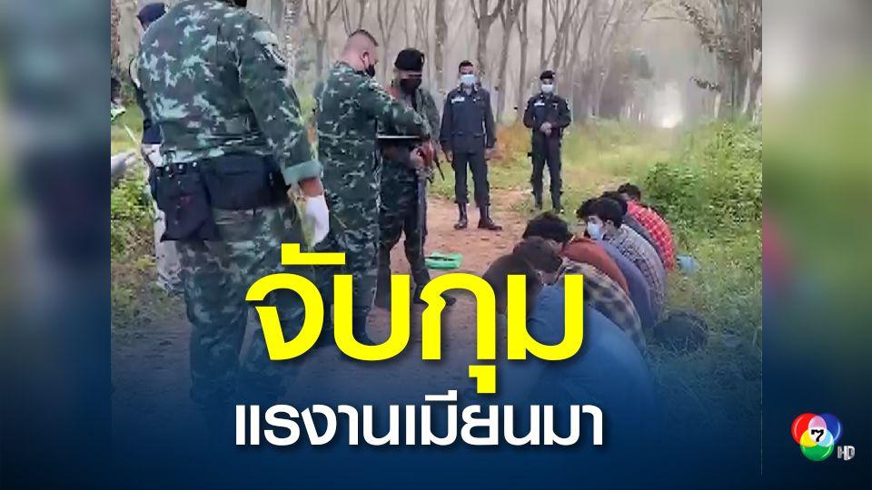 เจ้าหน้าที่ฝ่ายความมั่นคงชายแดนไทยมาเลเซียจับกุมชาวเมียนมา10 คนได้ในป่าสวนยางพารา