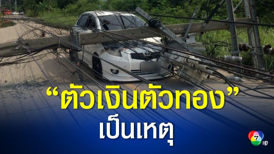 """หนุ่มขับรถพุ่งชนสนั่น เสาไฟฟ้าล้ม 8 ต้น รถพังหลายคัน  เหตุตกใจหักหลบ""""ตัวเงินตัวทอง"""""""