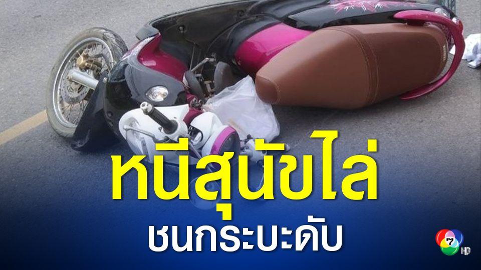 อุบัติเหตุ ตาวัย 65 ปี ขี่รถจักรยานยนต์ หนีสุนัขไล่กัด ก่อนชนกระบะดับคาที่