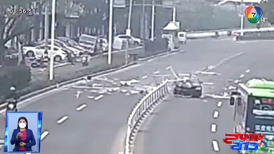 ภาพเป็นข่าว : อุทาหรณ์ ขับรถหลับใน พุ่งชนรั้วเหล็กกั้นถนน ที่จีน