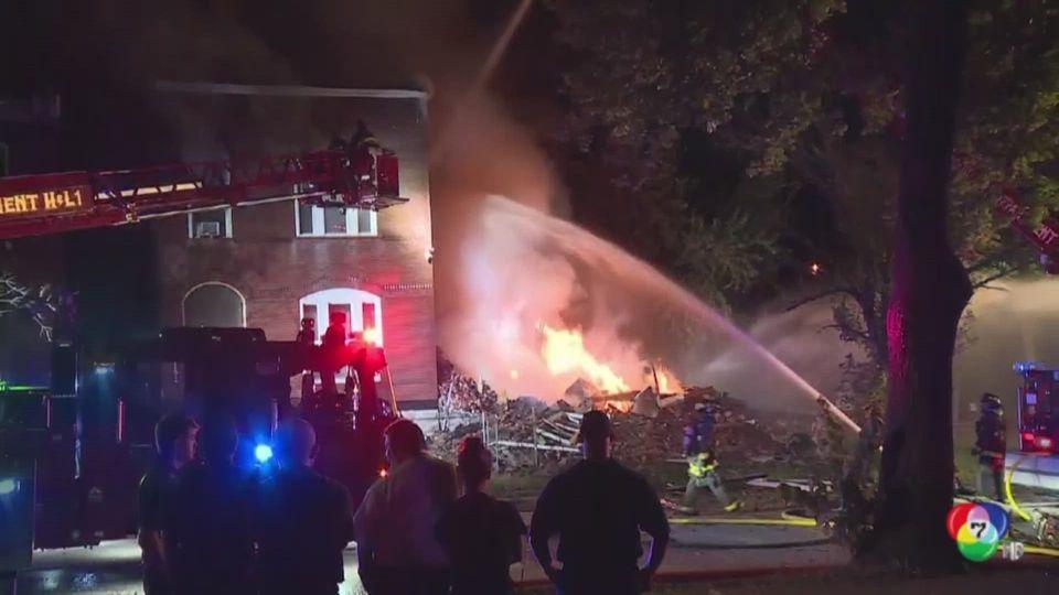 บ้านพักอาศัย 2 ชั้นระเบิดในสหรัฐฯ จนพังถล่มทั้งหลัง