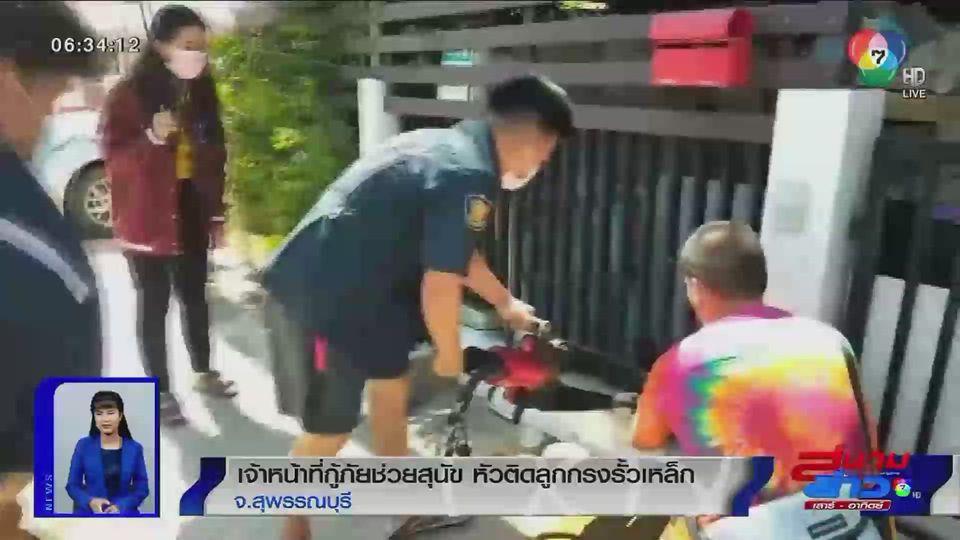 ภาพเป็นข่าว : เจ้าหน้าที่กู้ภัยช่วยสุนัข หัวติดลูกกรงรั้วเหล็ก