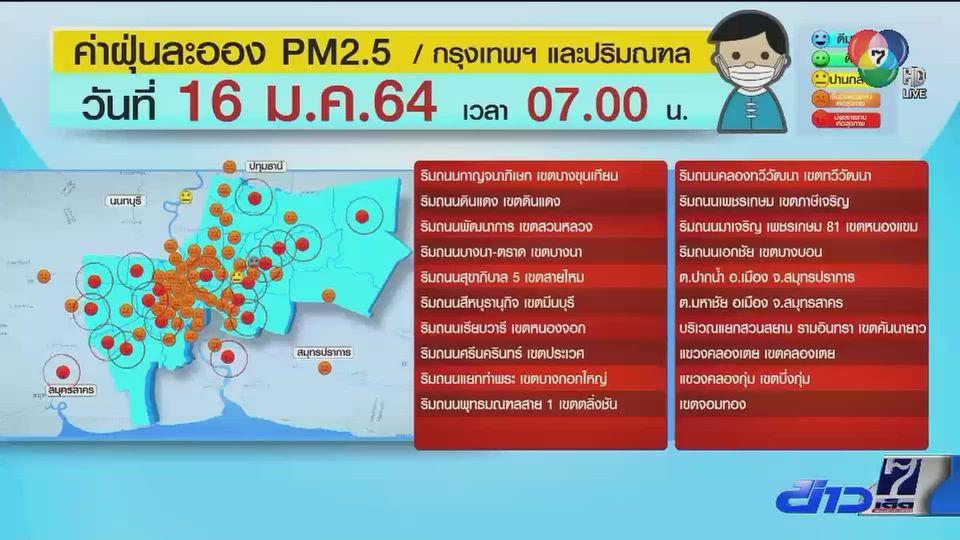 วิกฤตฝุ่น PM2.5 กทม. พุ่งสูงเกินมาตรฐานหลายจุด