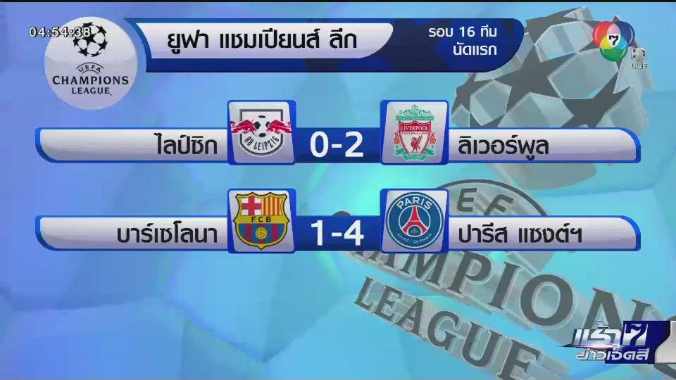 ผลฟุตบอลยูฟ่า แชมเปี้ยนส์ ลีก รอบ 16 ทีมสุดท้าย นัดแรก บาร์เซโลน่าแพ้คาบ้าน