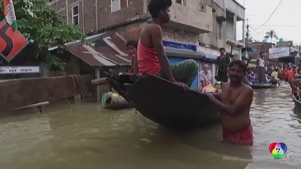 กู้ภัยเร่งช่วยอพยพประชาชน หลังน้ำท่วมหนักในอินเดีย