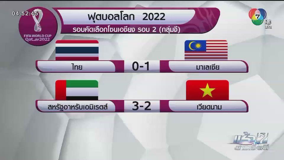 ช้างศึกแพ้มาเลเซีย ส่งท้ายฟุตบอลโลกรอบคัดเลือก รอบ 2 โซนเอเชีย