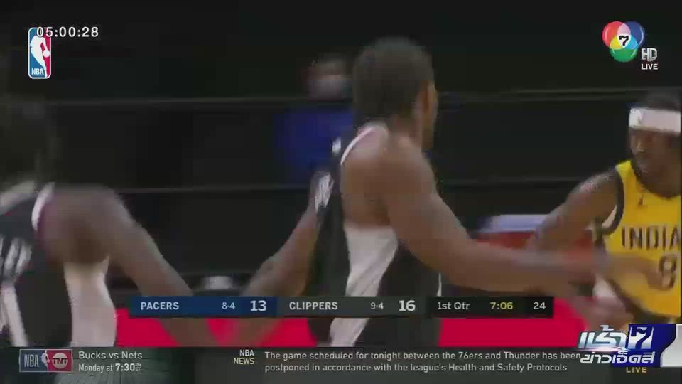 บาสเกตบอล NBA ลอสแอนเจลิส คลิปเปอร์ส เปิดบ้านเอาชนะ อินเดียน่า เพเซอร์ส ยังอยู่ที่ 2 ฝั่งตะวันตก