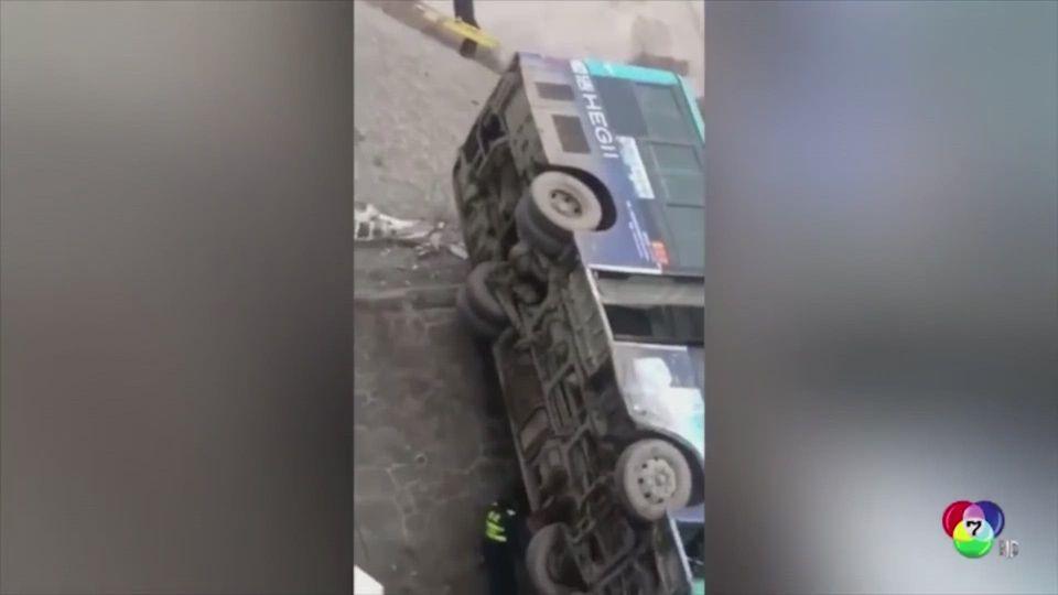 อุบัติเหตุรถพยาบาลพุ่งชนรถโดยสารในจีน