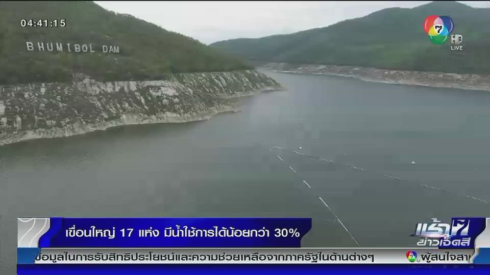 เขื่อนใหญ่ 17 แห่ง มีน้ำใช้การได้น้อยกว่า 30%