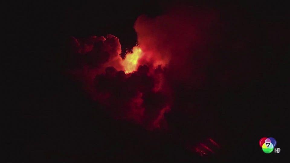 ภูเขาไฟเอตนา ในอิตาลี ปะทุพ่นลาวาแดงฉาน