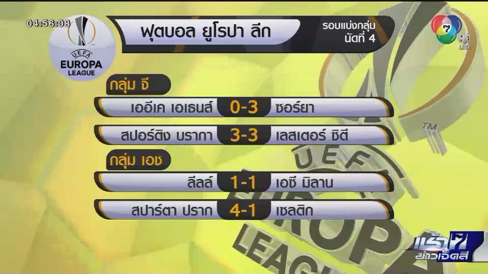 ผลฟุตบอลยูโรป้า ลีก รอบแบ่งกลุ่ม นัดที่ 4 อาร์เซนอล ควง เลสเตอร์ เข้ารอบ 32 ทีม