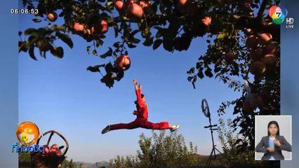 สาวผู้พิการทางการได้ยิน ไลฟ์สดเต้นขายแอปเปิลช่วยชาวสวน ยอดสั่งซื้อเกือบ 50,000 กก.