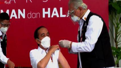 ประธานาธิบดีอินโดฯ ถ่ายทอดสดฉีดวัคซีนโควิด-19 คนแรกของประเทศ