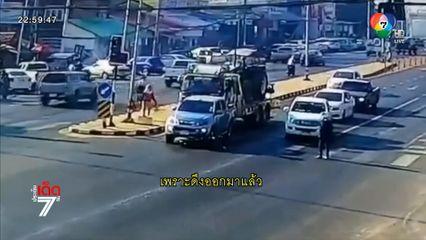 รถบรรทุกเบรกไม่อยู่ พุ่งชน รถกระบะและ จยย. ทับแม่ดับ - ลูกสาหัส