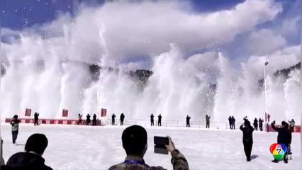 จีนระเบิดแม่น้ำที่มีสภาพเป็นน้ำแข็ง เพื่อป้องกันน้ำท่วม