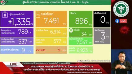 แถลงข่าวโควิด-19 วันที่ 14 เมษายน 2564 : ยอดผู้ติดเชื้อรายใหม่ 1,335 ราย รวมผู้ป่วยสะสม 35,910 ราย