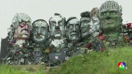 อังกฤษเปิดตัวรูปปั้นยักษ์ผู้นำจี-7 ทำจากขยะอิเล็กทรอนิกส์