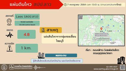 แผ่นดินไหว สปป.ลาว ขนาด 4.8 สะเทือนถึงประเทศไทย