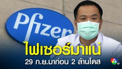 """""""อนุทิน"""" เผยวัคซีนไฟเซอร์ 2 ล้านโดสจะถึงไทย วันที่ 29 กันยายนนี้เริ่มฉีดเด็กได้แน่ตุลาคมนี้"""